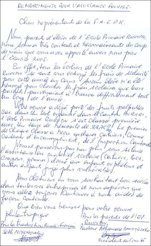 Lettre de remerciements des parents de l'école primaire de Ruvumu